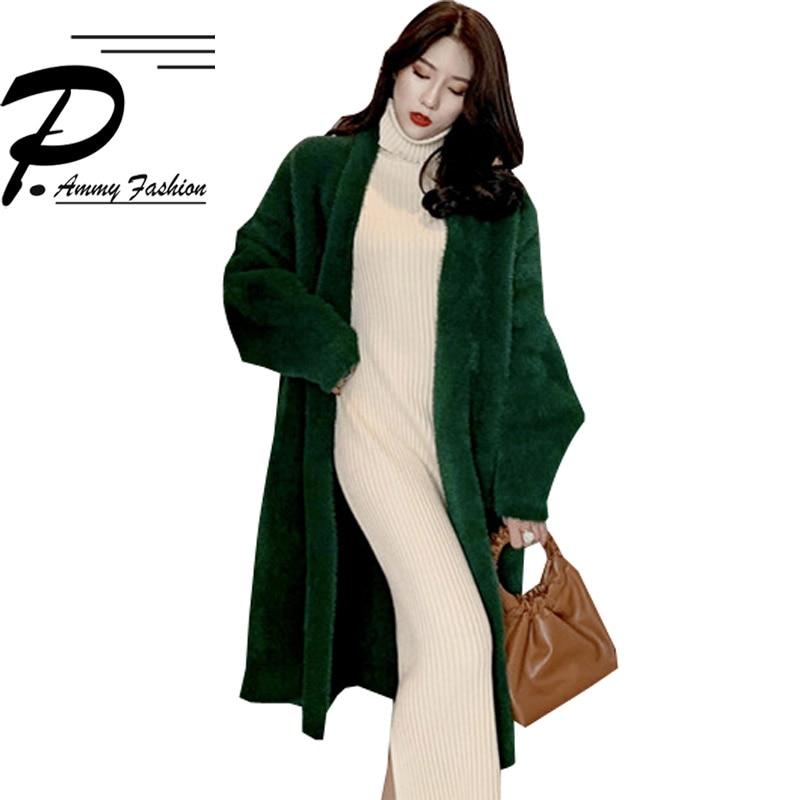 Vert cou Épais V Manteaux Veste Et Long Nouveau Mode Manteau Moyen Chaud  blanc Sauvage Manches Femmes Mince ... c0bd70bc1697