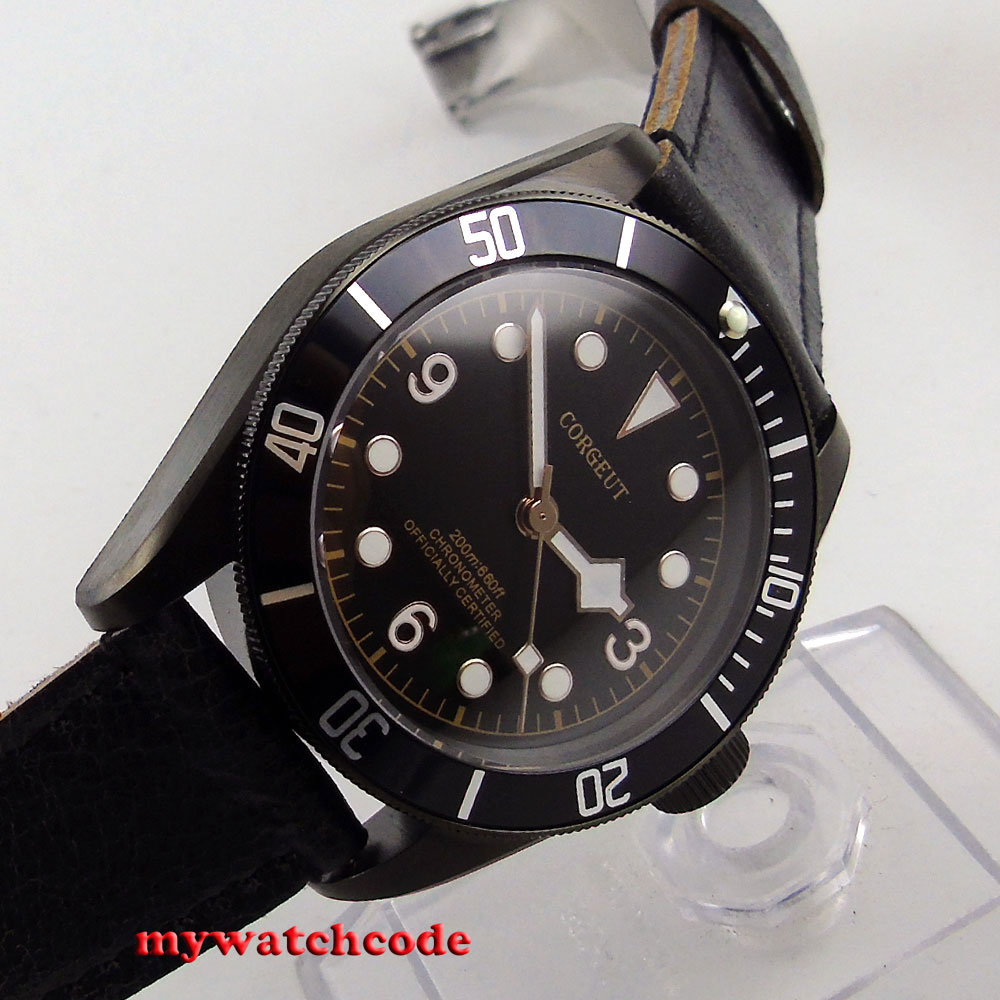 41mm corgeut black dial PVD case Sapphire Glass miyota automatic mens Watch C76 цена и фото