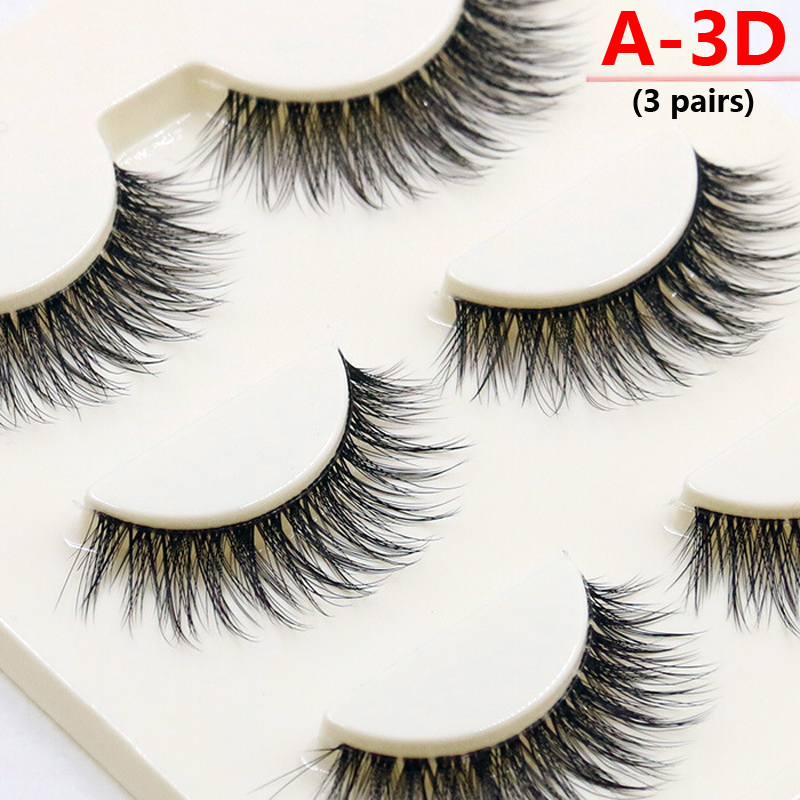 New A14-20 Different Types 3 Pairs Mink False Eyelashes Black Natural Cross Long Thick Professional Makeup Fake Eye Lashes Set