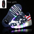 Children Shoes With Wheels Kids Boys Girls Led Light Up Shoes One Wheels Roller Skate Shoes De Rodinhas 28-42