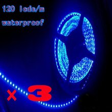 3pcs*3528 600 5M LED Strip SMD Flexible light 120led/m outdoor waterproof warm / white/red/green/blue Free Shipping