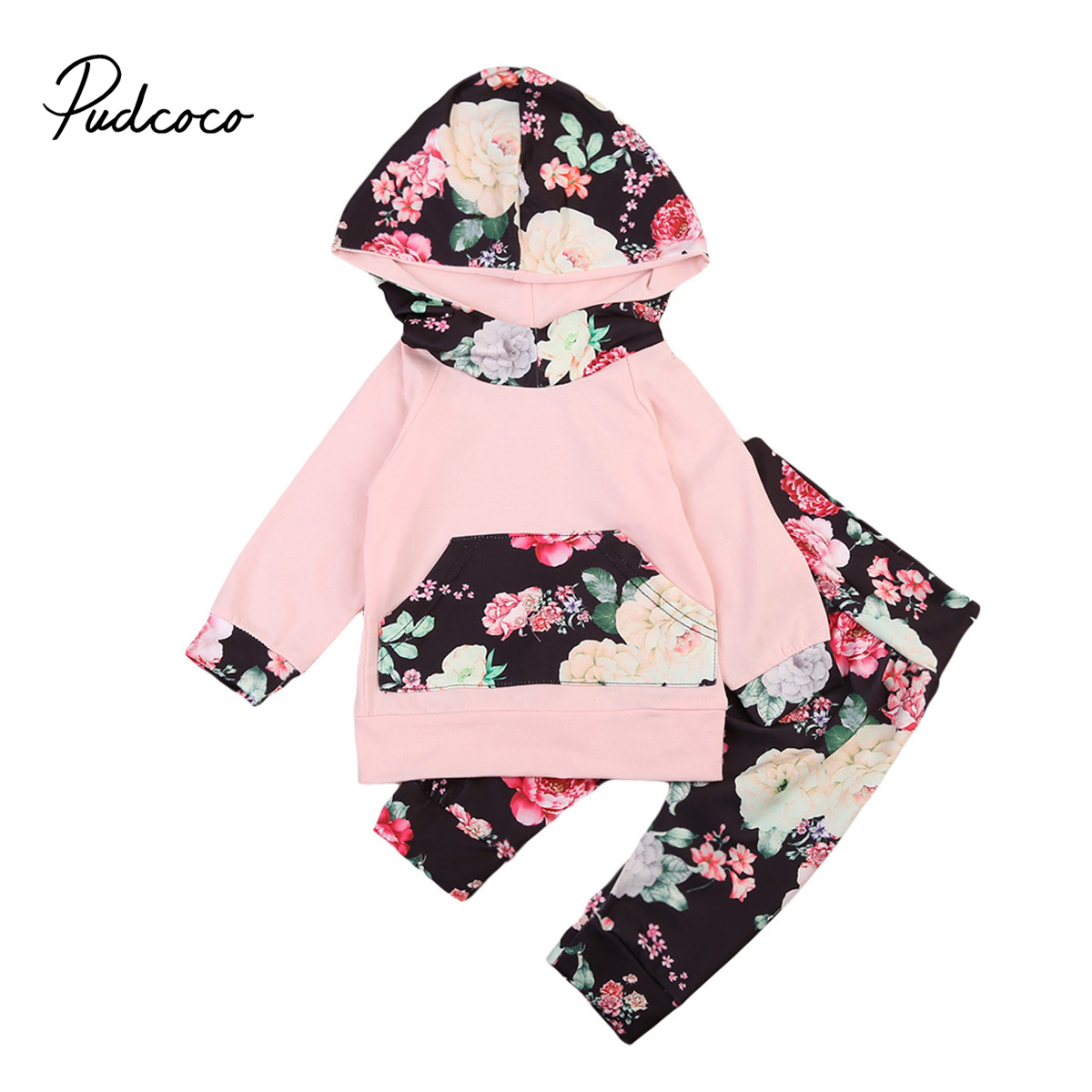 Pudcoco 2pcs Newborn Baby Girl Floral Hoodie Tops+Long Pants Leggings Baby Girls Autumn Winter Clothes Set Outfit infant newborn baby girls clothes set hooded tops long sleeve t shirt floral long leggings outfit children clothing autumn 2pcs
