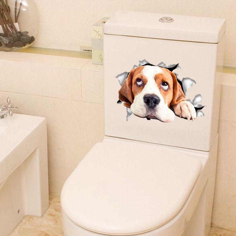 Cats Dog 3D Wall Sticker Bathroom Toilet Living Room Kitchen Decoration Animal Vinyl Art Sticker Poster 10