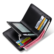 Genuine Leather Men Wallet with Card Holder, Luxury Short Wallet with  Zipper