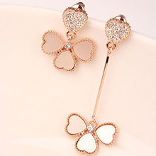 Heart Earring- Hot Sale New Fashion Elegant Woman Clover Short Long Crystal Heart Leaf Earring(China)