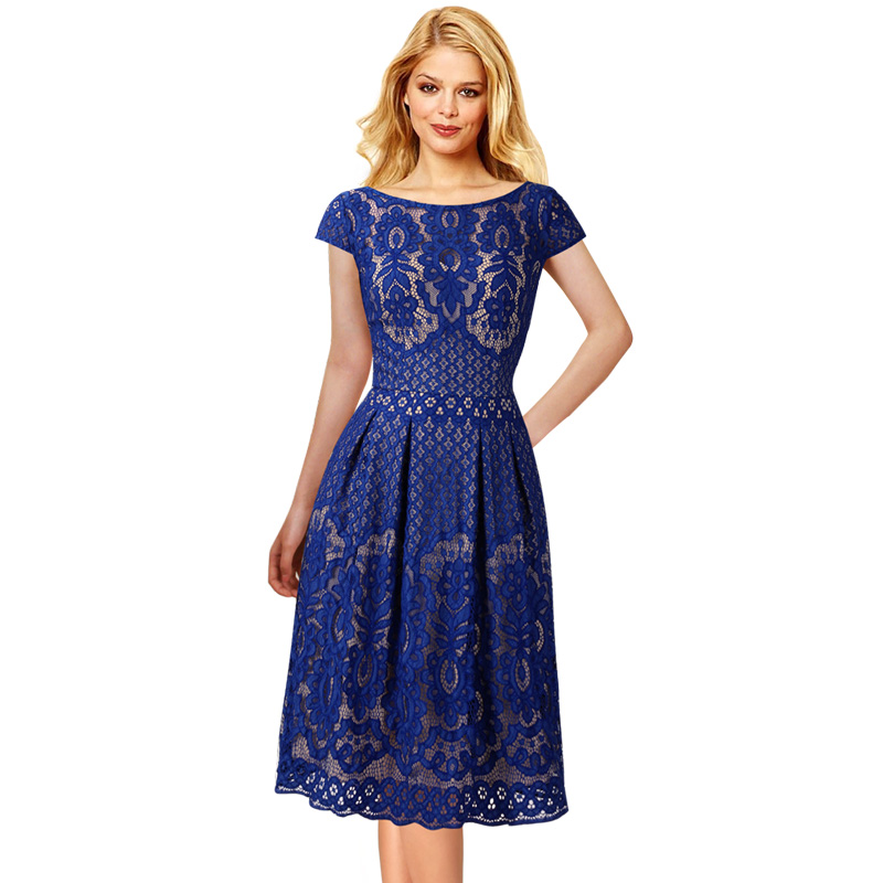 bfbd19e516e Vfemage Womens Vintage Floral Lace Pockets Cap Sleeve Pleated Cocktail  Wedding Party Fit and Flare Tea Skater A Line Dress 1623-in Dresses from  Women s ...