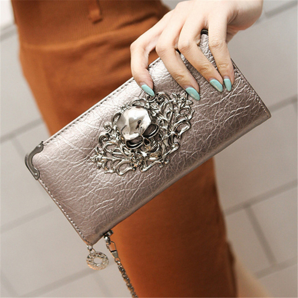 Vintage Skull Wallets Ladies Long Handbag Zipper Wallet Skeleton Purse Clutch Card Holder Carteira Feminina Women's Wallet