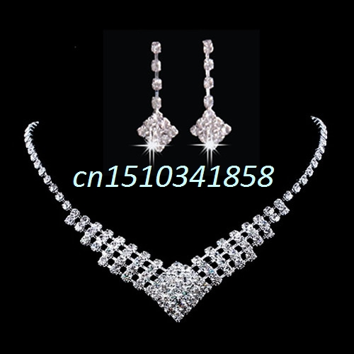 New Trendy Wedding Bridal Prom Rhinestone Crystal Necklace Earrings Jewelry Set Hot #Y51#