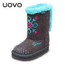 UOVO Autumn Winter Girls Boots Flat Kids Girls Boots Designed Brand Shoes Light-weight Children Casual Boots Velvet Lining