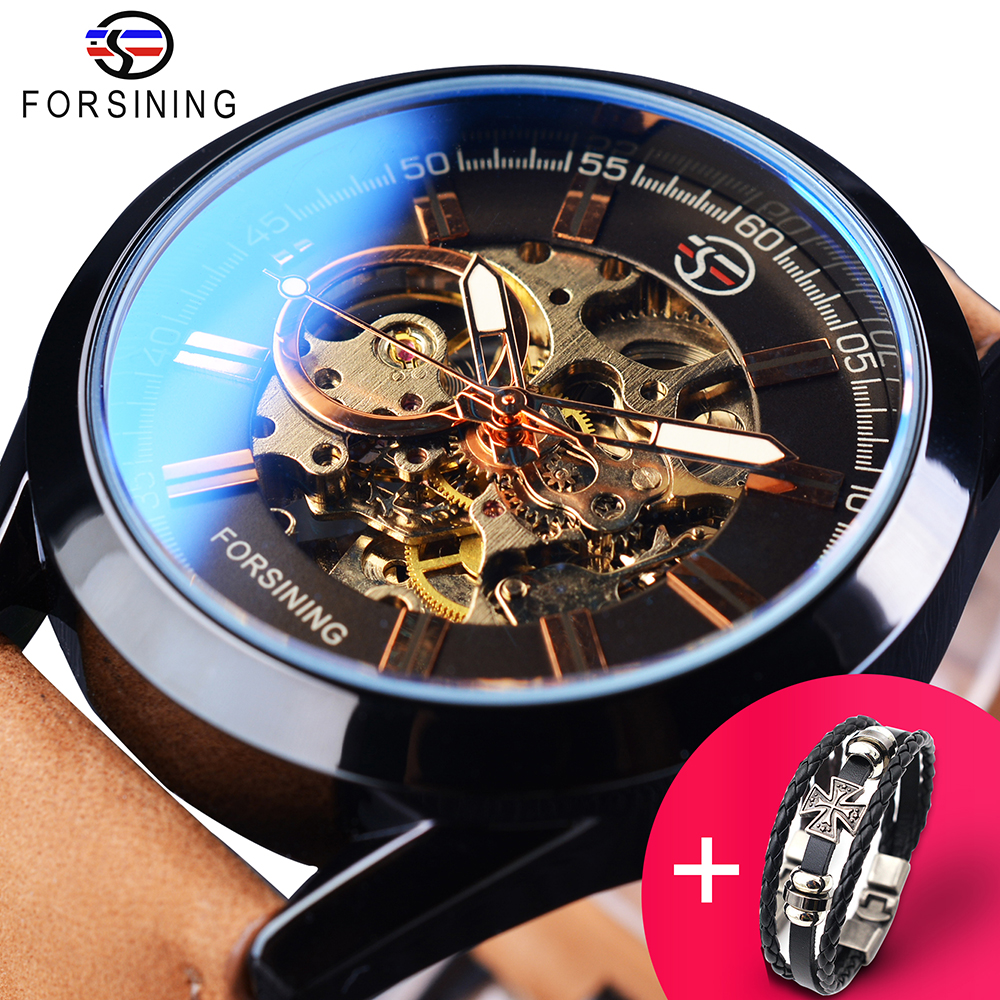 Us 20 99 Forsining Watch Bracelet Set Combination Casual Sport Genuine Leather Army Military Automatic Men Wrist Watches Skeleton Clock In Sports