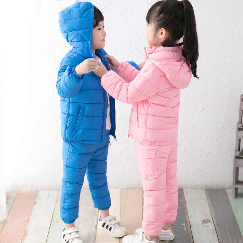 hooded children clothing girls winter jacket down cotton clothes sets baby little boys clothing set winter padded jackets & pant 2016 winter boys ski suit set children s snowsuit for baby girl snow overalls ntural fur down jackets trousers clothing sets