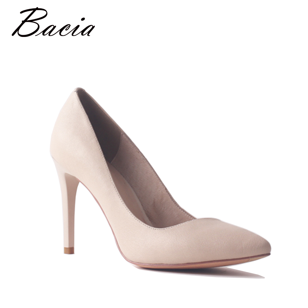 Bacia Sheep skin 9.8cm High Heel Quality Genuine Leather Shoes Nude Color Women Fashion Causal Party Sexy Pumps Handmade SA100