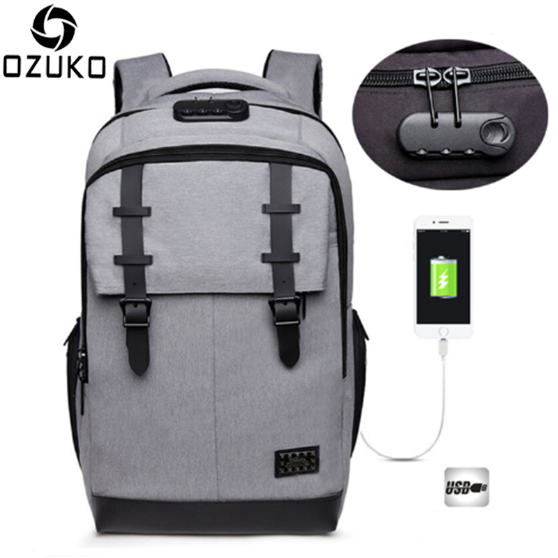 OZUKO Anti-thief Design External USB Charge Laptop Backpack School Bags Custom Lock Men Fashion Backpack Business Travel Mochila