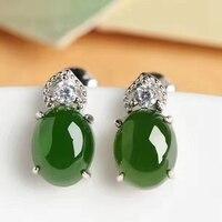 Natural green jasper gem stud earrings 925 silver natural gemstone earrings fashion Hydrangea heart women party gift jewelry