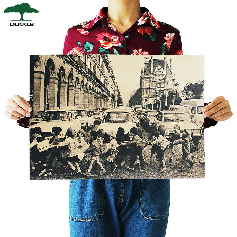 DLKKLB Classic Children Crossing The Streets Of Paris Poster Bar Decorative Painting Retro Kraft Paper Wall Sticker 51.5x36cm