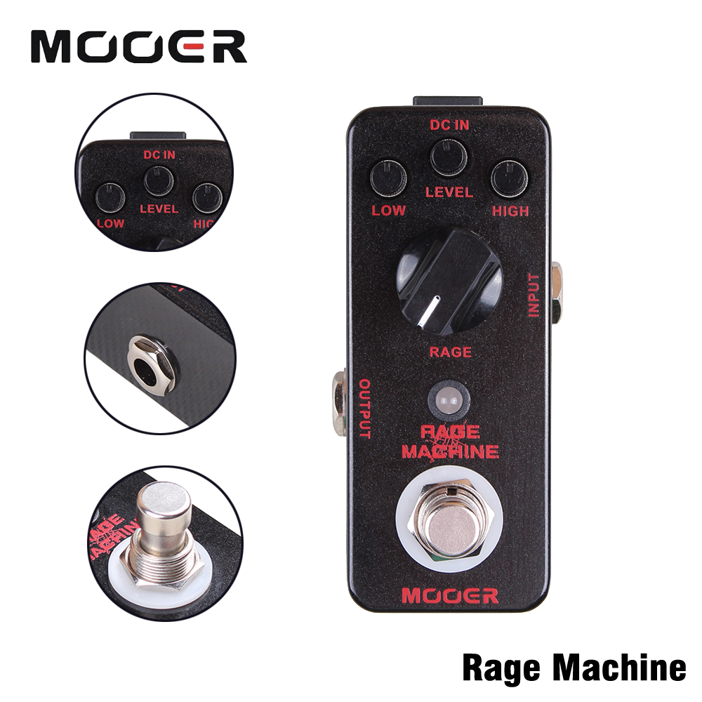 Mooer Heavy Metal Style Distortion Tones Guitar Effect Pedal Rage Machine With True Bypass mooer hustle drive distortion guitar effect pedal micro pedal true bypass effects with free connector and footswitch topper