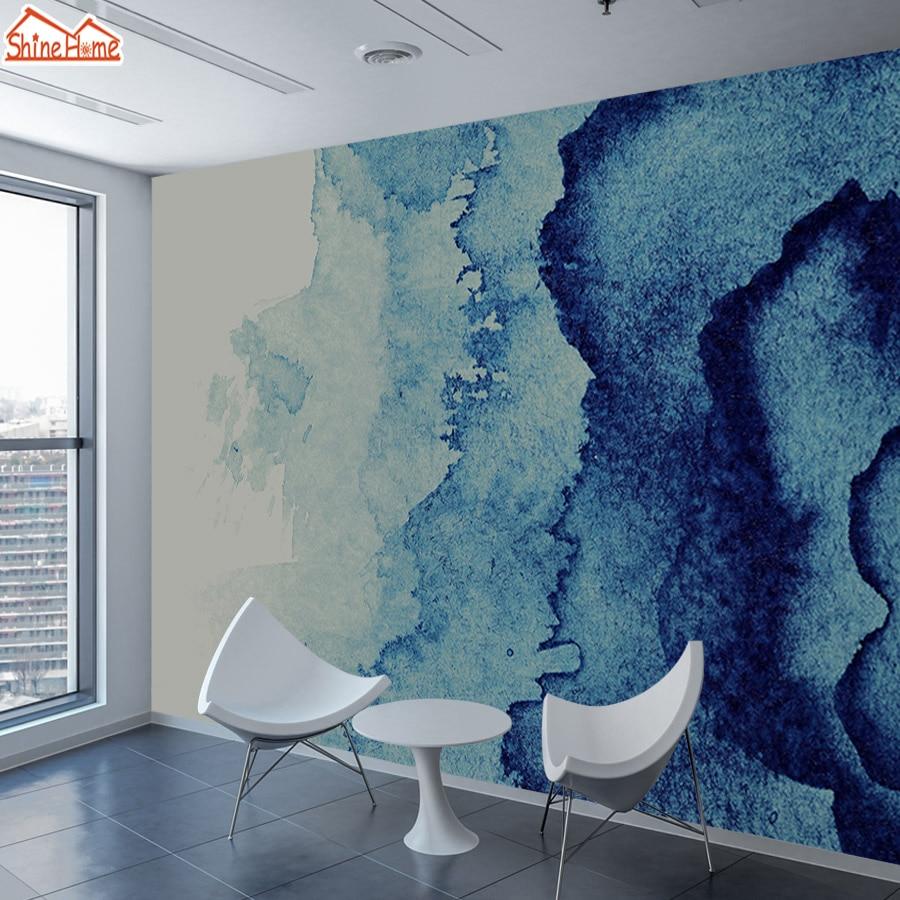 Shinehome Custom Blue Marble Pattern Wallpaper For 3 D Living Room