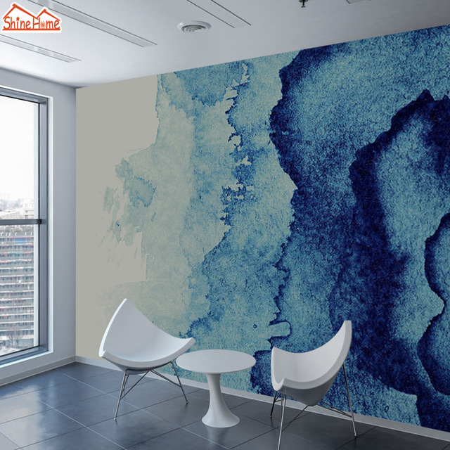Budget Shinehome Papier Peint Motif Marbre Bleu Personnalisé