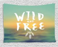 Vintage Decor Tapestry by Wild and Free Phrase with Native American Feathers on Blurry Boho Style Wall Hanging for Room