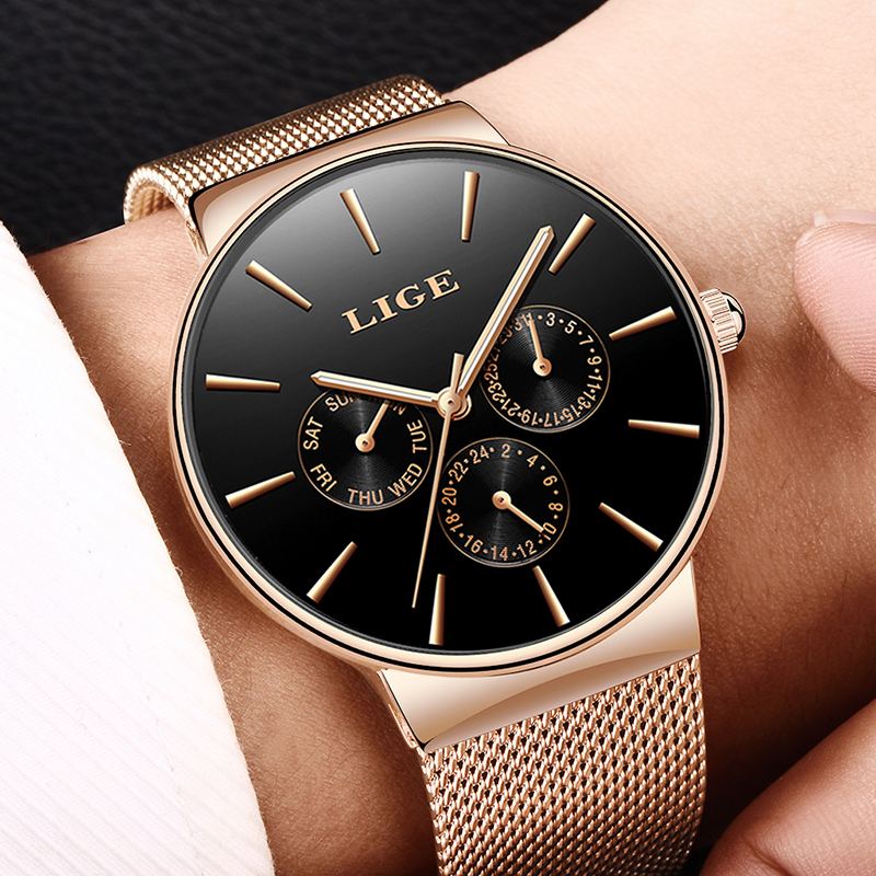 все цены на LIGE Fashion Simple Mens Watches Top Brand Luxury Quartz Watch Men Casual Slim Mesh Steel Date Waterproof Watch relojes hombre