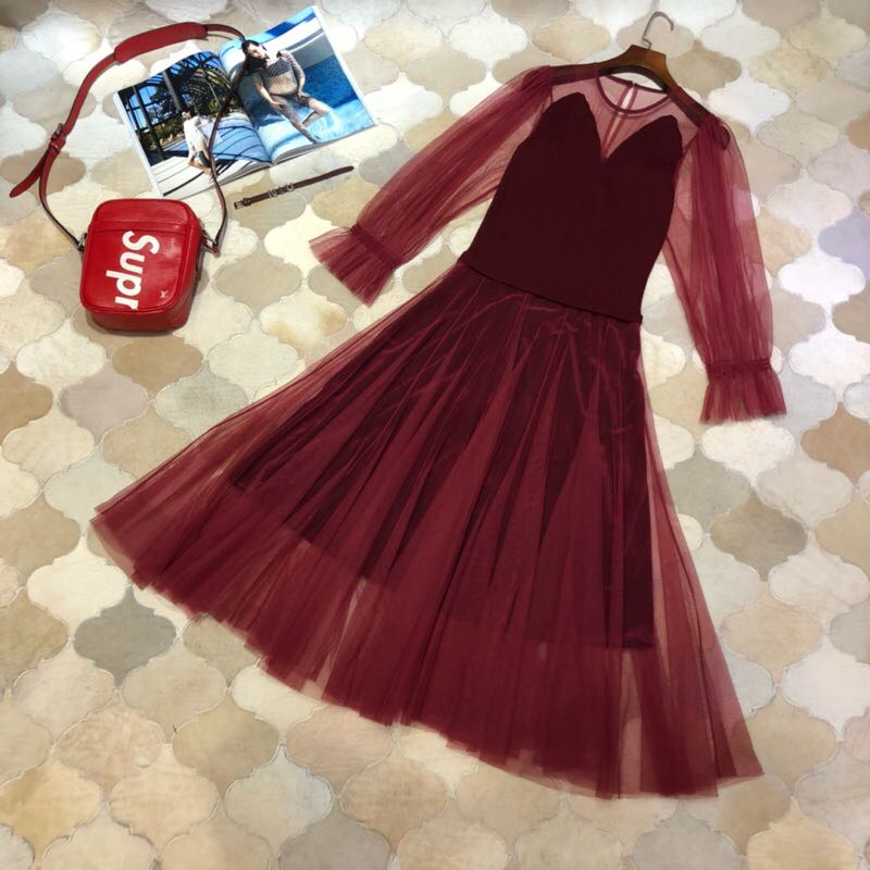 WLD1189BF  Best Quality New New Fashion Women 2018 Autumn Dress Luxury Brand European Design winter style dress