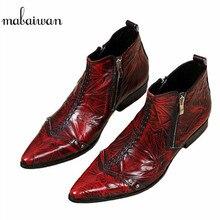 Цвет красного вина мужские полусапоги двойная молния Военная Униформа ковбойские сапоги Для мужчин S безопасная обувь Острый носок платье резиновая Сапоги и ботинки для девочек Tenis обувь