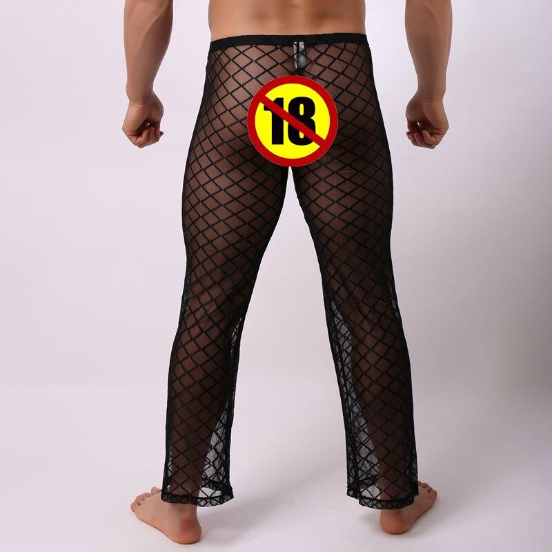 Men Long Pants Underwear Full Length Mesh Transparent Sleepwear Nightwear Pants Sexy Gay Mesh Underwear Clothing Long Trousers