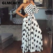 Women Casual Polka Dot Printed Dress Summer Sexy One ShouCUERLYer Long Sleeve Maxi Elegant Party Club Sashes CUERLY