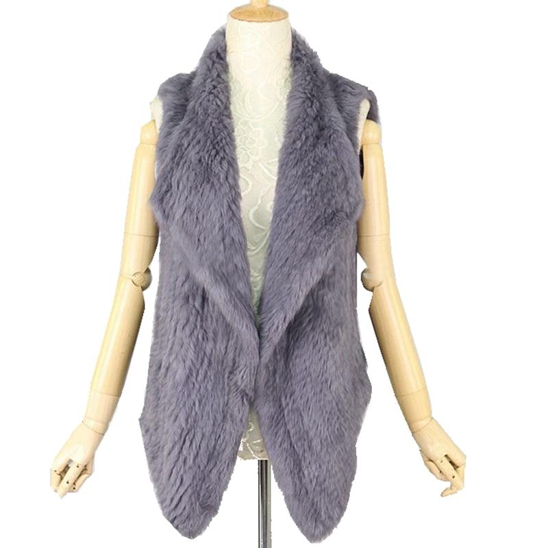 TopFurMall Lady Fashion Genuine Knitted Rabbit Fur Vest Waistcoat Women Real Fur Cardigan Gilet Asymmetric
