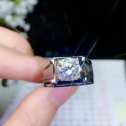 Knetterende moissanite gemstone ring voor mannen gift fijne sieraden knipperende gem ring engagement ring verjaardagsfeestje gift zilveren ring