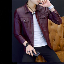 2018 New leather jacket spring autumn Slim was thin fashion men solid Single breasted faux