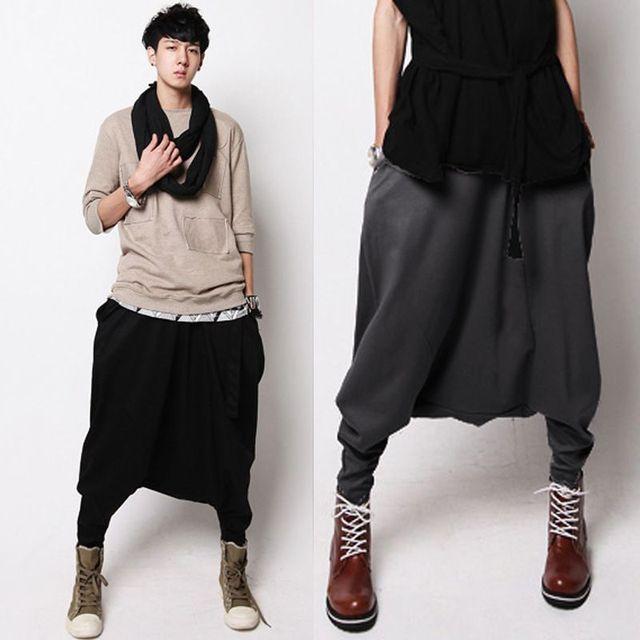 Male Hip hop big yards Low Drop crotch harem pants Autumn Punk Street dance Baggy Trousers Solid Elastic Waist Sweatpants 100711
