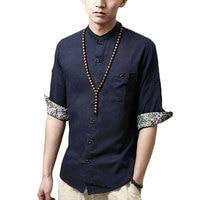 Japanese Shirts For Men Designer Cotton Linen Half Sleeve Floral Mandarin Collar Shirts Social Casual Hawaiian
