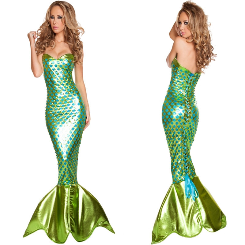 DJGRSTER Hot Sale Women Mermaid Tail Costume Halloween Cosplay Mermaid Tube Dress Sexy Maid Fancy Parety Dress For women