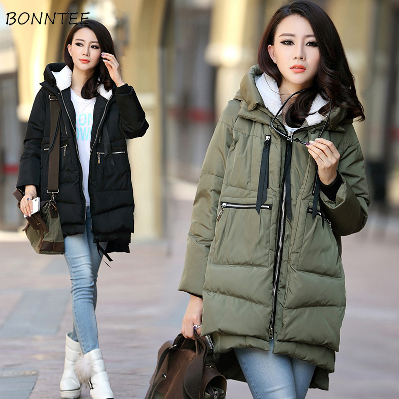 Parkas   Women Plus Size Leisure Hooded Simple Leisure Warm Winter Coat Thicker All-match Students   Parka   Womens Trendy Outwear