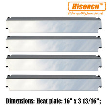 """Hisencn 93321 4pcs/pk 16"""" BBQ grill replacement Stainless Steel heat plates gas barbecue grills parts For Centro, Charbroil"""
