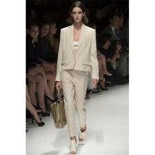 Jacket+Pants Light Beige Women Business Suits Formal Office Suits Work Office Uniform Style 2 Piece Female Trouser Suit Custom
