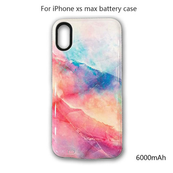 6000mAh Power Case for iPhone xs max cover colorful marble Portable External Battery Charger Case for