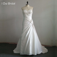 Free Shipping 2013 New Arrival Sweetheart Neck A Line Satin Elegant Pleated Crystal Beaded Corset Bridal