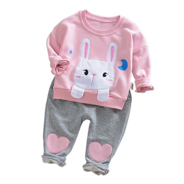 0aa8ef523 Pockets Cute Rabbit Clothing Outfit Baby Girls Spring And Autumn Clothes  Sets Infant Kids Long Sleeve