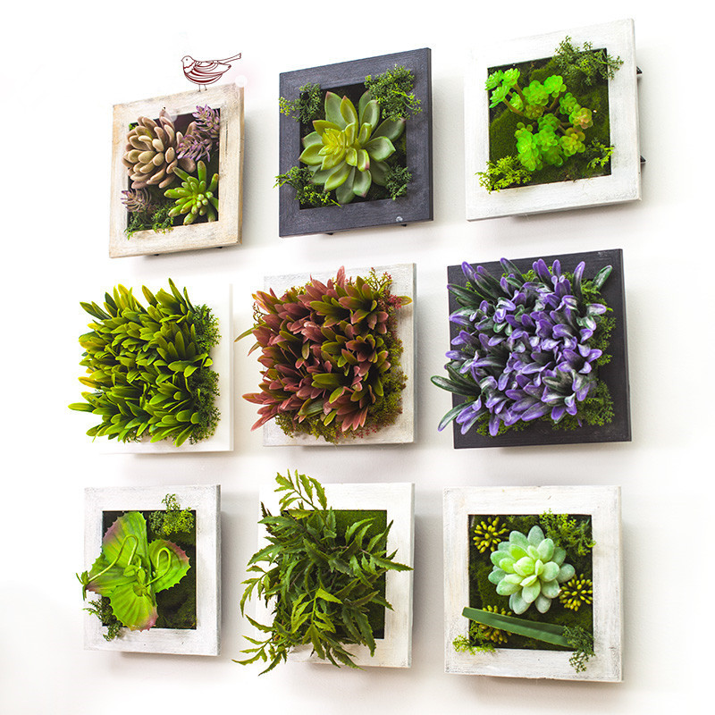 2017 3D Creative Metope Succulent Plants Imitation Wood Photo Frame Wall Decoration  Artificial Flowers Home Decor