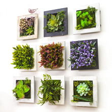 2017 3D Creative metope succulent plants Imitation wood photo frame wall decoration artificial flowers home decor living Room