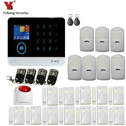 Yobang sécurité écran tactile WIFI sans fil GSM fenêtre/porte entrée sécurité système d'alarme antivol wifi ip caméra sirène extérieure