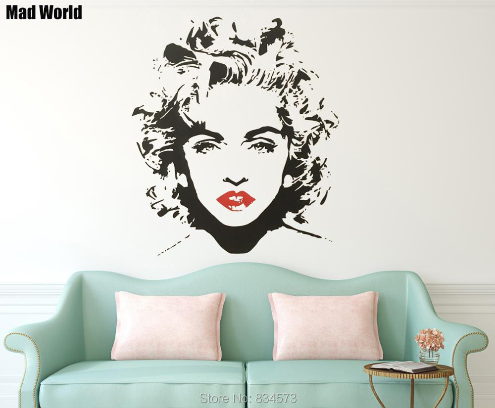 Mad world woman music celebrity wall art stickers wall decal home woman music celebrity 57 66h 2 amipublicfo Image collections