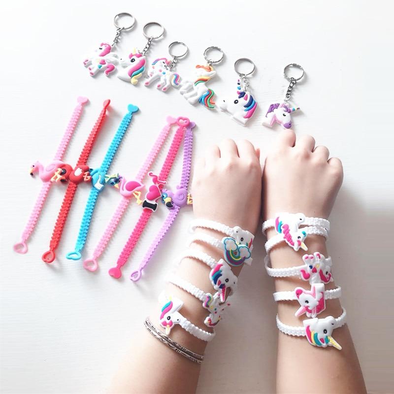 Резиновый браслет в виде фламинго, Единорога для вечеринки, украшения для вечеринки в честь Дня Рождения, детские подарки, товары для праздв...