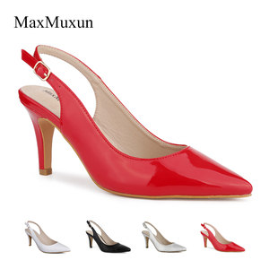 Image 5 - Maxmuxun Women Shoes High Heel Pumps Black Silver Red Pointed Toe Sexy Dress Slingback Shoes Stiletto Sandals For Wedding Party