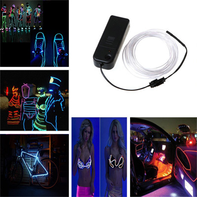 3M Flexible Led Neon Light Glow EL Wire String Strip Rope Tube Cable+Battery Controller Water Resistant LED Light Free Shipping solar powered 6w 100 led rgb light water resistant flexible tube light white black