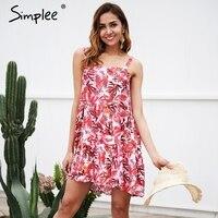 Simplee Strap Sleeveless Boho Summer Dress Women Floral Print Stripe Mini Dress Casual Beach Short Dress