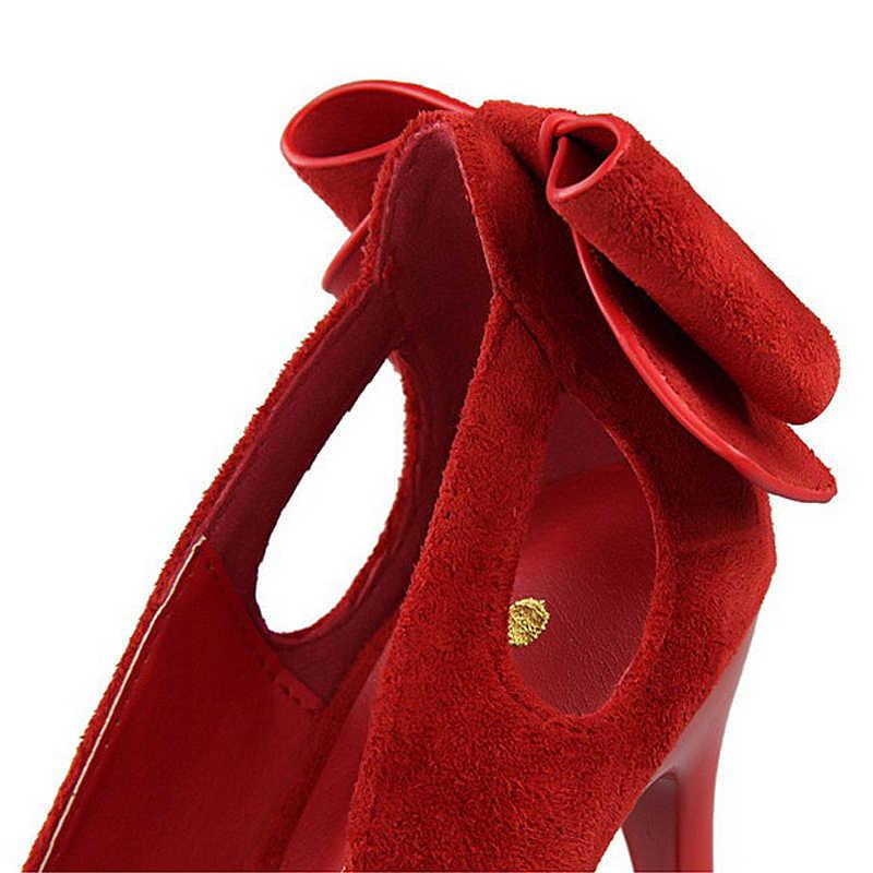 BIGTREE Ayakkabı Kadın Pompaları Yüksek Topuklu Ayakkabı Moda Düğün Ayakkabı Bayanlar Yaz Kadın Sandalet Yay Seksi Kadın Topuklu Stiletto