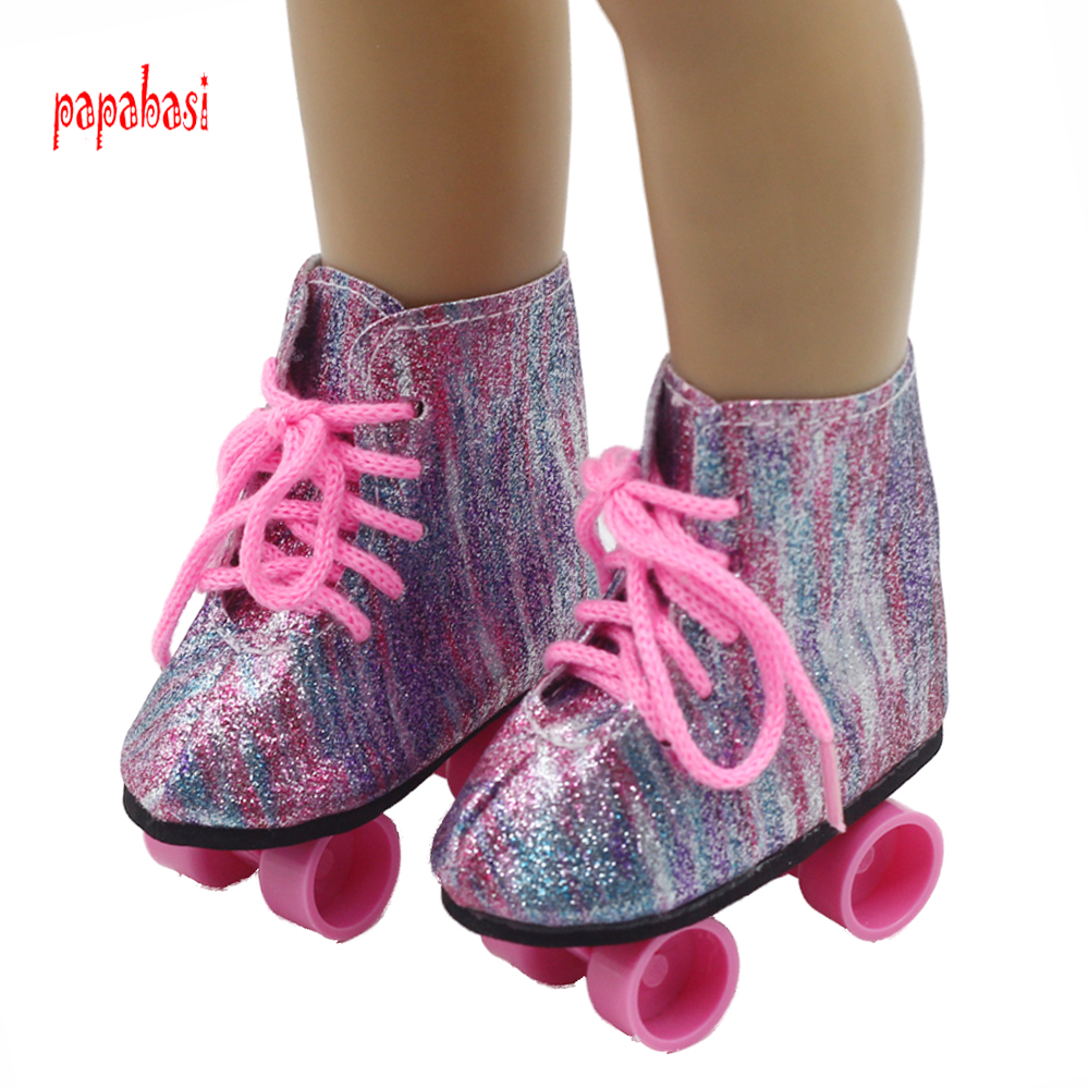 1pair Roller skates shoes For 18 45CM American Girls Dolls Snow skating sport Boots for Alexander doll accessory baby girl gift children roller sneaker with one wheel led lighted flashing roller skates kids boy girl shoes zapatillas con ruedas